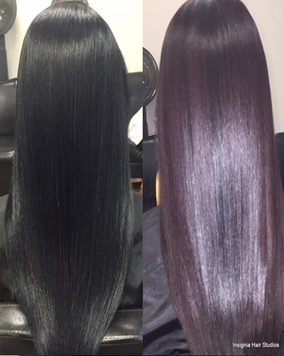 black to purple